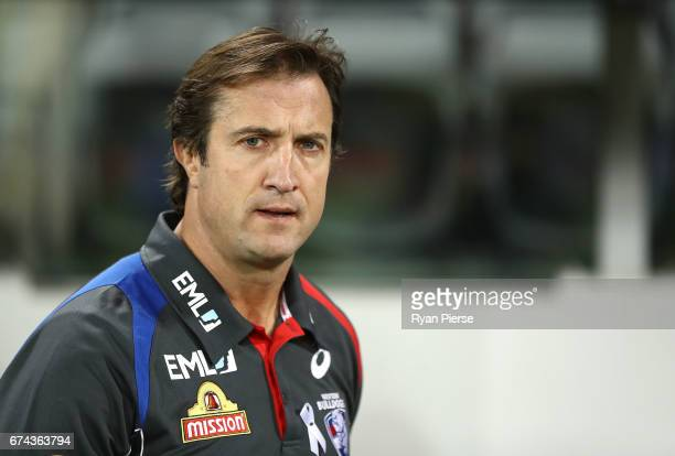 Luke Beveridge coach of the Bulldogs looks on during the round six AFL match between the Greater Western Sydney Giants and the Western Bulldogs at...