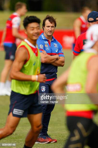 Luke Beveridge Senior Coach looks on during a Western Bulldogs AFL training session at Whitten Oval on March 27 2018 in Melbourne Australia