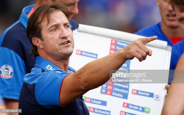 Luke Beveridge Senior Coach of the Bulldogs addresses his players during the 2019 AFL round 03 match between the Western Bulldogs and the Gold Coast...