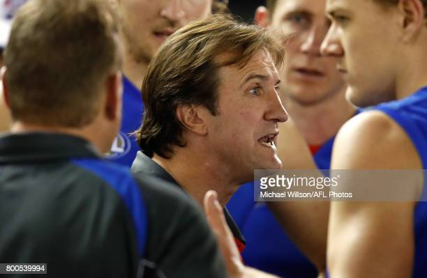 Luke Beveridge Senior Coach of the Bulldogs addresses his players during the 2017 AFL round 14 match between the Western Bulldogs and the North...
