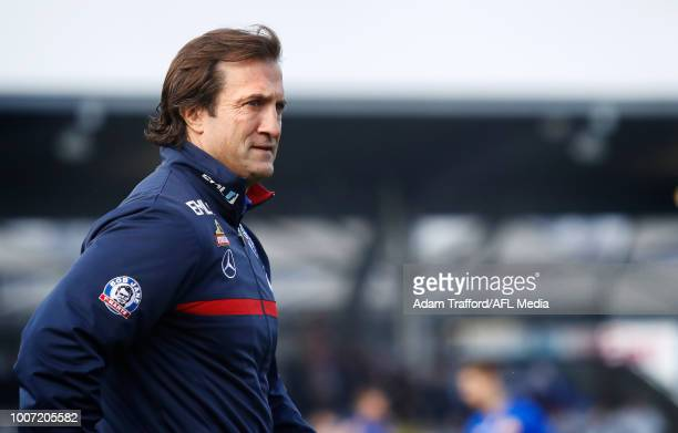 Luke Beveridge Senior Coach of the Bulldogs looks on during the 2018 AFL round 19 match between the Western Bulldogs and the Port Adelaide Power at...