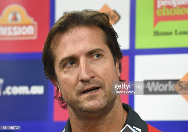 Luke Beveridge the coach of the Bulldogs talks to the media during a Western Bulldogs AFL training session at Whitten Oval on April 4 2017 in...