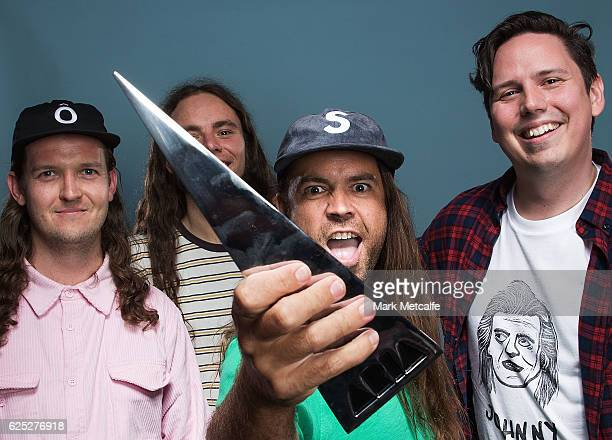 Luke Boerdam, Luke Henery, Michael Richards and James Tidswell of Violent Soho pose for a portrait with an ARIA for Best Hard Rock/Heavy Metal Album...