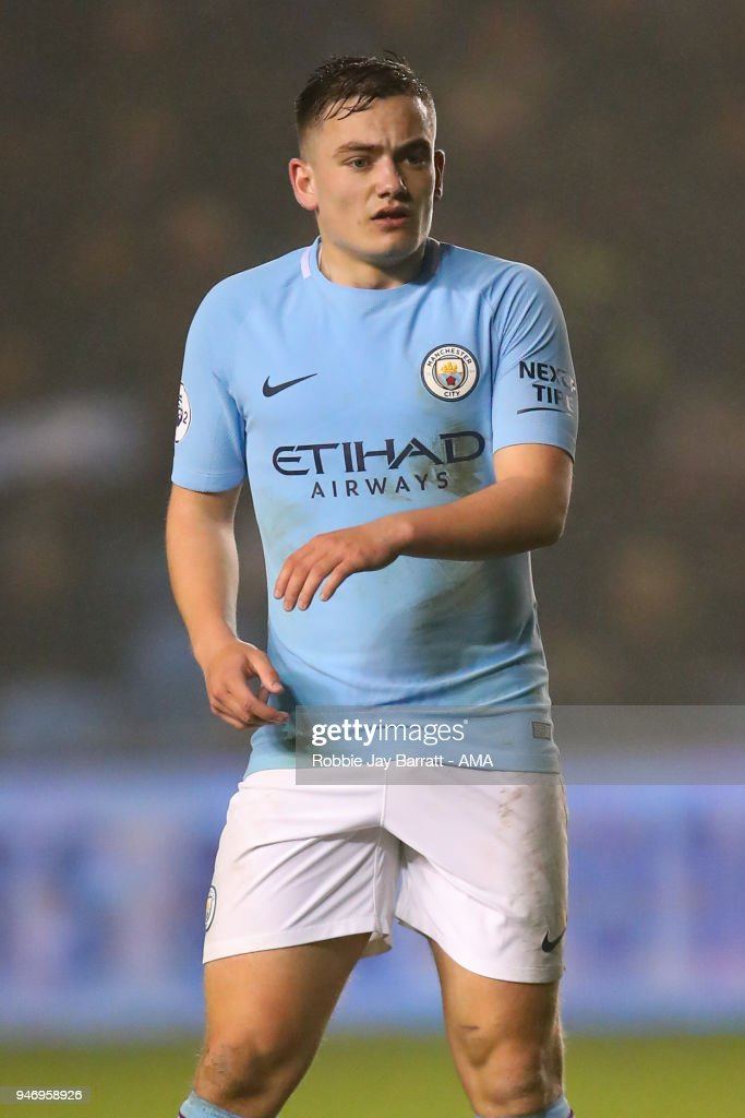 Luke Bolton of Manchester City during the Premier League 2 match at Manchester City Football Academy on April 13, 2018 in Manchester, England.