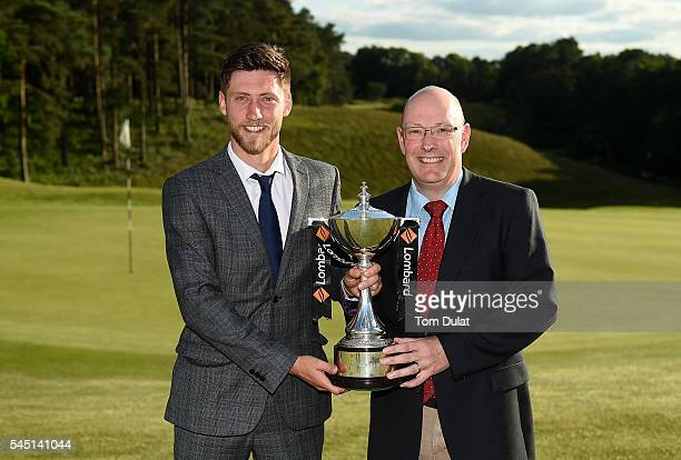 Luke Bone and Iain Burgess of Farnham Golf Club pose with the trophy after winning the PGA Lombard Trophy National ProAm South Regional Qualifier at...
