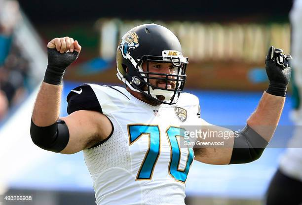 Luke Bowanko of the Jacksonville Jaguars celebrates a sack during the game against the Houston Texans at EverBank Field on October 18 2015 in...