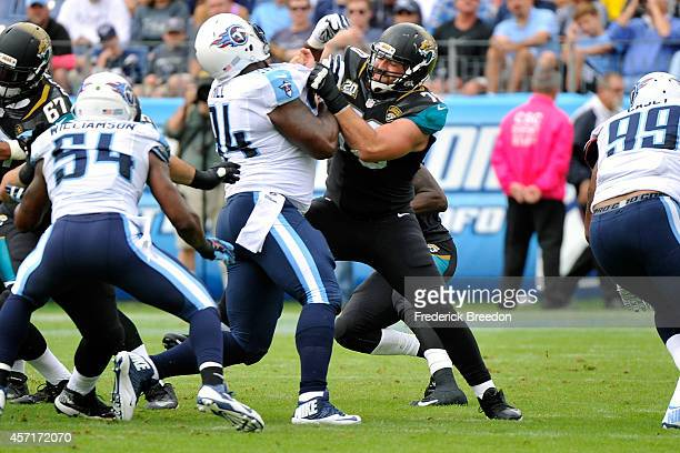Luke Bowanko of the Jacksonville Jaguars plays against the Tennessee Titans at LP Field on October 12 2014 in Nashville Tennessee