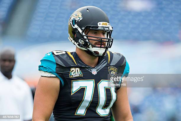 Luke Bowanko of the Jacksonville Jaguars warms up before a game against the Tennessee Titans at LP Field on October 12 2014 in Nashville Tennessee...