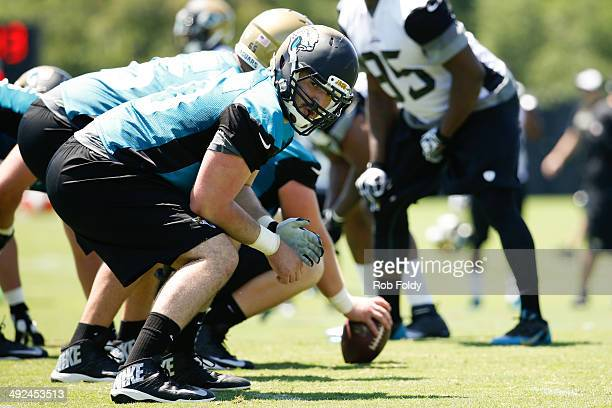 Luke Bowanko of the Jacksonville Jaguars works out during rookie minicamp at Everbank Field on May 16 2014 in Jacksonville Florida