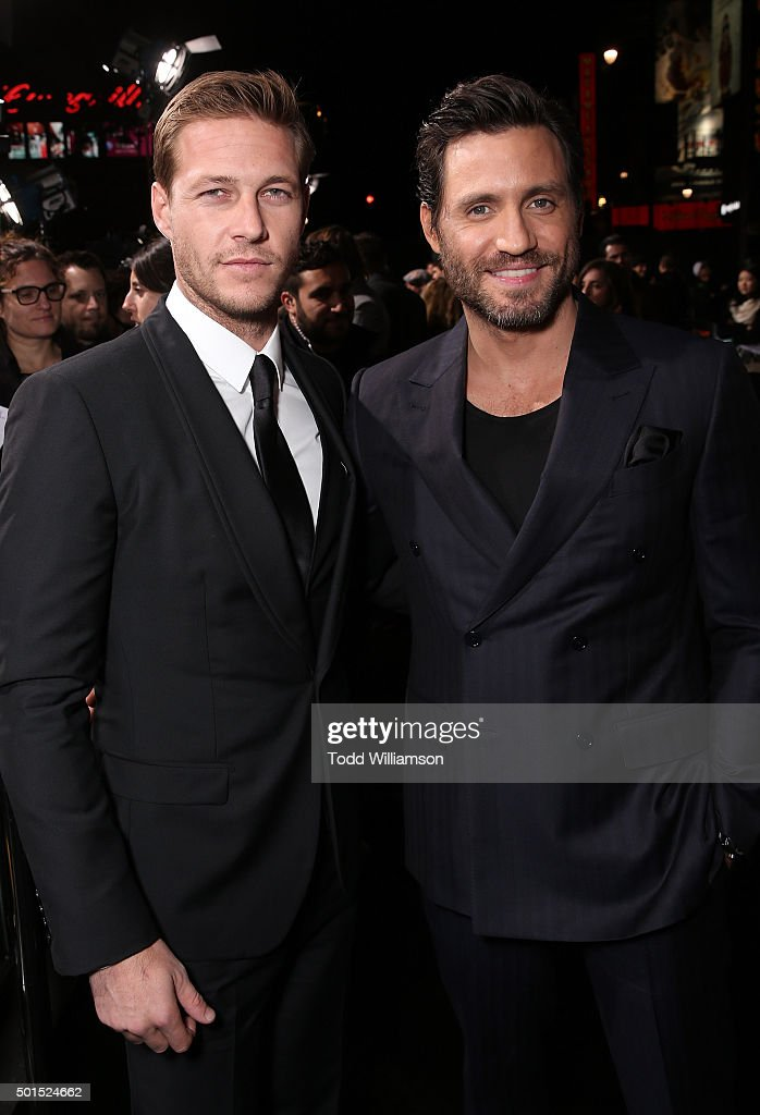 Luke Bracey and Edgar Ramirez attend the premiere of Warner Bros. Pictures and Alcon Entertainment's 'Point Break' at TCL Chinese Theatre on December 15, 2015 in Hollywood, California.
