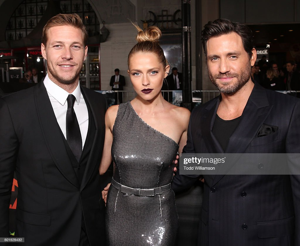 Luke Bracey, Teresa Palmer and Edgar Ramirez attend the premiere Of Warner Bros. Pictures And Alcon Entertainment's 'Point Break' at TCL Chinese Theatre on December 15, 2015 in Hollywood, California.