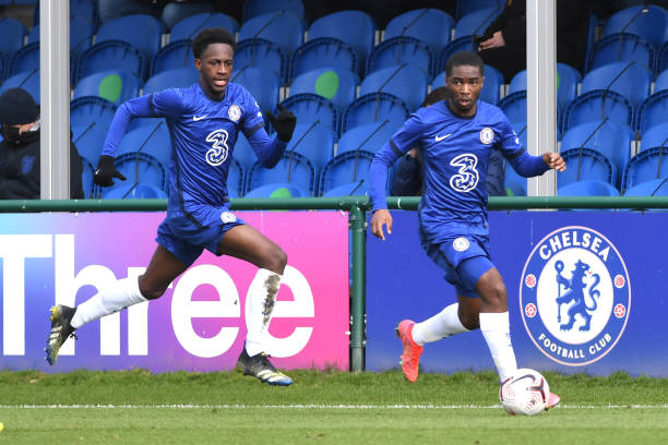 Luke Bradley-Morgan and Dion Rankine of Chelsea run the wing during the Chelsea v Tottenham Hotspur U18 Premier League match on March 6, 2021 in...