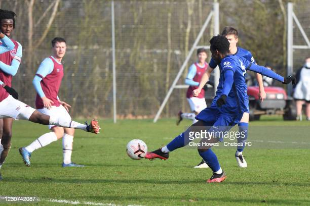Luke Bradley-Morgan of Chelsea scores the opening goal during the West Ham United v Chelsea - U18 Premier League match at the Little Heath sports...