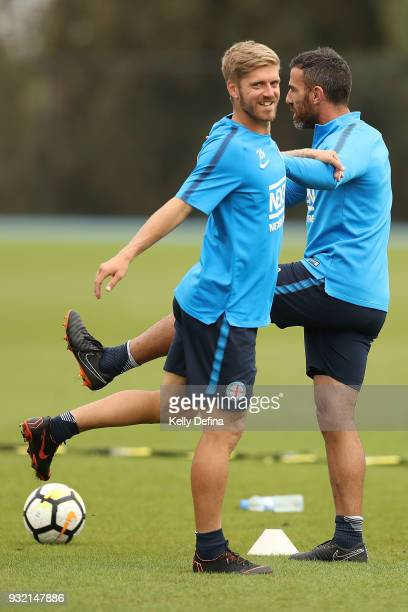 Luke Brattan and Manny Muscat of Melbourne City stretch while warmingup during a Melbourne City FC ALeague training session at City Football Academy...