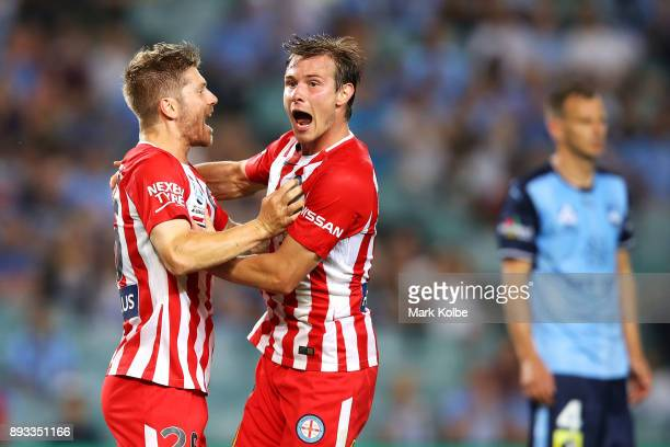 Luke Brattan and Nick Fitzgerald of City FC celebrate Brattan scoring a goal during the round 11 ALeague match between Sydney FC and Melbourne City...