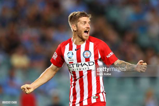 Luke Brattan of City FC celebrate scoring a goal during the round 11 ALeague match between Sydney FC and Melbourne City FC at Allianz Stadium on...