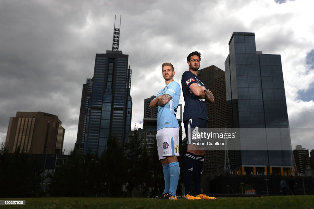 Luke Brattan of Melbourne City and Rhys Williams of Melbourne Victory pose during a Melbourne A-League Derby Media Opportunity at Birrarung Mar on October 12, 2017 in Melbourne, Australia.
