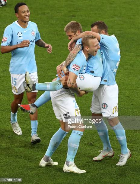 Luke Brattan of Melbourne City celebrates after scoring a goal during the round six ALeague match between Melbourne City and the Newcastle Jets at...