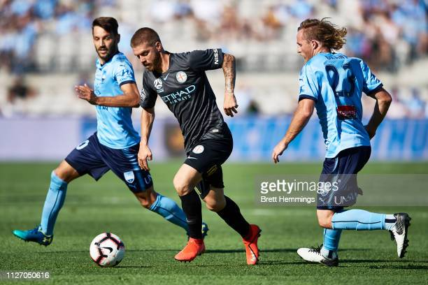 Luke Brattan of Melbourne City controls the ball during the round 17 ALeague match between Sydney FC and Melbourne City at WIN Jubilee Stadium on...