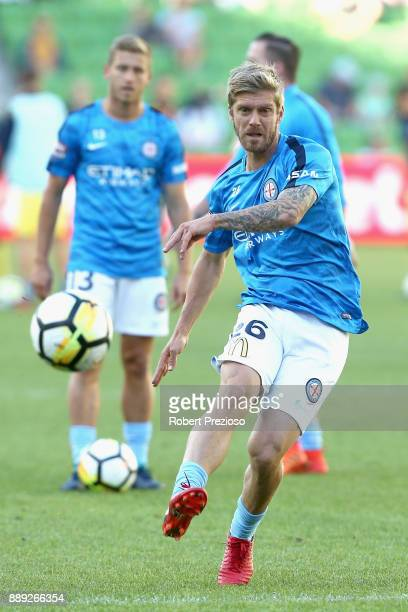 Luke Brattan of Melbourne City FC has a shot on goal during warm up prior to the round 10 ALeague match between Melbourne City FC and the Central...