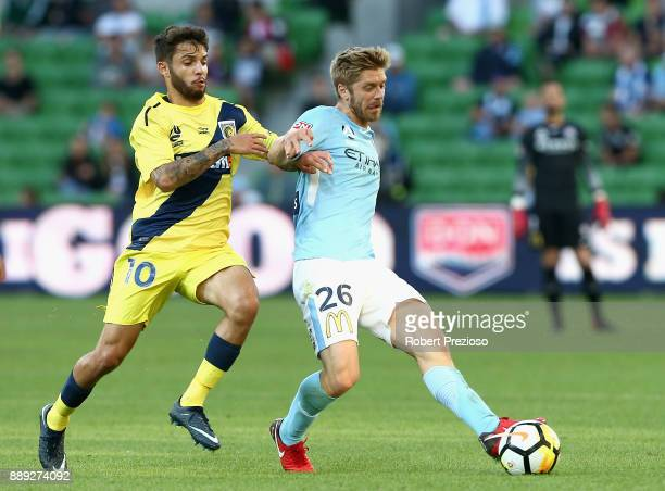 Luke Brattan of Melbourne City FC passes the ball during the round 10 ALeague match between Melbourne City FC and the Central Coast Mariners at AAMI...