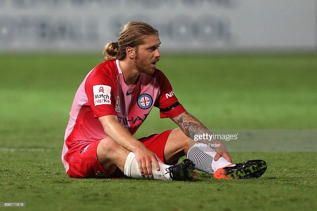Luke Brattan of Melbourne City looks dejected after drawing to Central Coast Mariners during the round 13 A-League match between the Central Coast Mariners and Melbourne City at Central Coast Stadium on December 31, 2016 in Gosford, Australia.