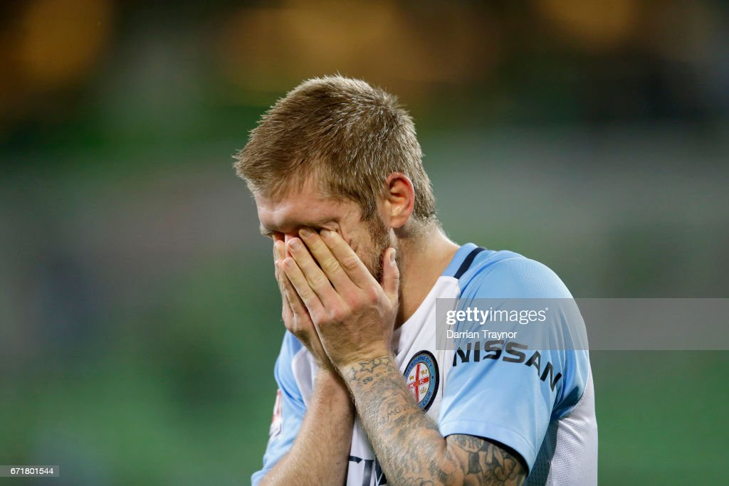 Luke Brattan of Melbourne City reacts after the A-League Elimination Final match between Melbourne City FC and the Perth Glory at AAMI Park on April 23, 2017 in Melbourne, Australia.