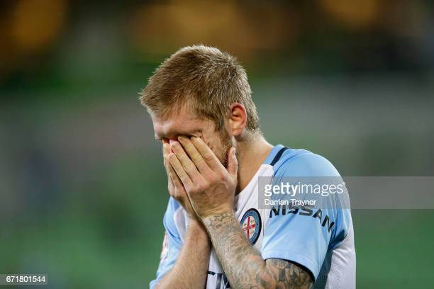 Luke Brattan of Melbourne City reacts after the ALeague Elimination Final match between Melbourne City FC and the Perth Glory at AAMI Park on April...