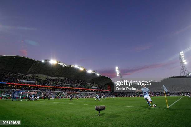 Luke Brattan of Melbourne City takes a corner kick during the round 22 ALeague match between Melbourne City FC and Melbourne Victory at AAMI Park on...