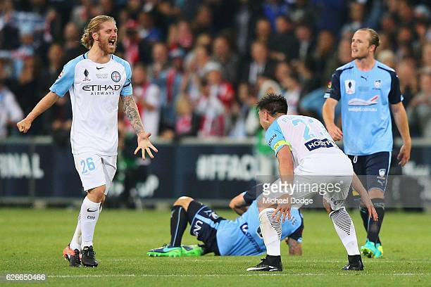 Luke Brattan of the City and and Bruno Fornaroli of the City celebrates the win during the FFA Cup Final match between Melbourne City FC and Sydney...