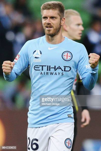 Luke Brattan of the City celebrates the win during the round three ALeague match between Melbourne City and the Wellington Phoenix at AAMI Park on...