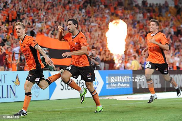 Luke Brattan of the Roar celebrates a goal during the round 16 ALeague match between Brisbane Roar and the Wellington Phoenix at Suncorp Stadium on...