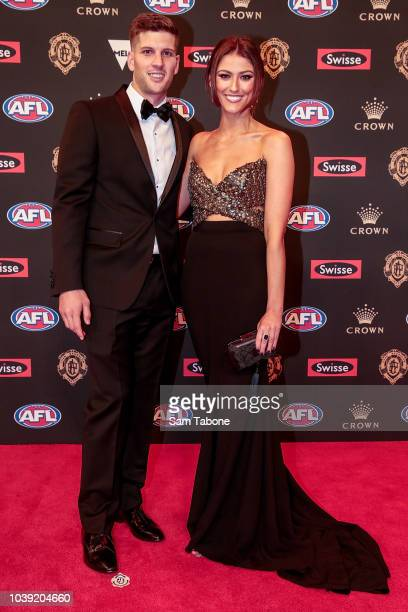 Luke Breust and Anthea Pellow attends 2018 Brownlow Medal at Crown Entertainment Complex on September 24 2018 in Melbourne Australia