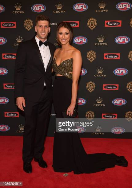 Luke Breust of the Hawks and his aprtner Anthea Pellow arrives ahead of the 2018 Brownlow Medal at Crown Entertainment Complex on September 24 2018...