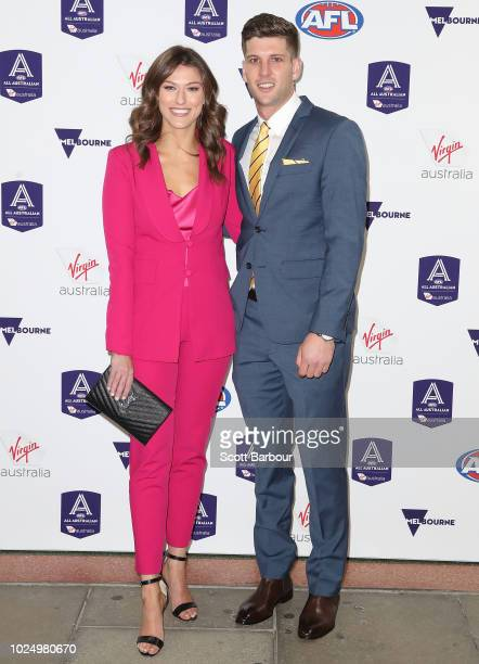 Luke Breust of the Hawks and partner Anthea Pellow during the 2018 AFL AllAustralia Awards at the Palais Theatre on August 29 2018 in Melbourne...
