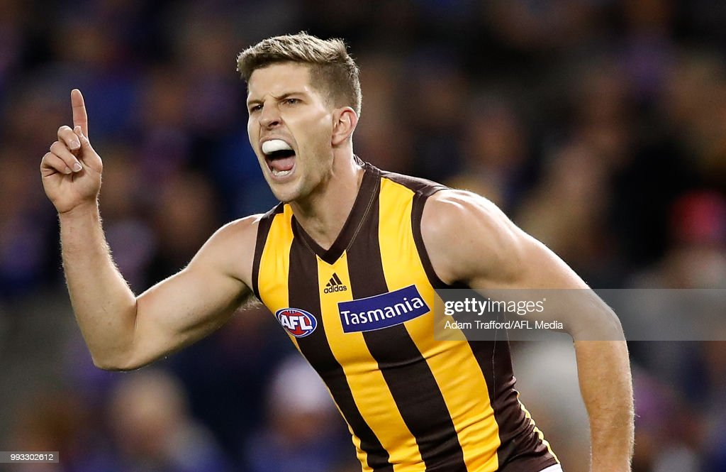 Luke Breust of the Hawks celebrates a goal during the 2018 AFL round 16 match between the Western Bulldogs and the Hawthorn Hawks at Etihad Stadium on July 07, 2018 in Melbourne, Australia.