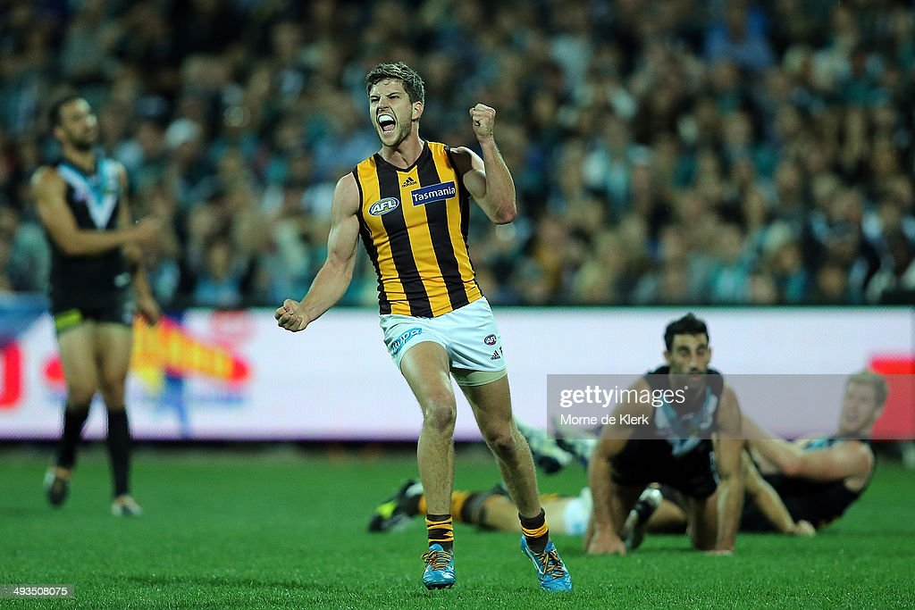 Luke Breust of the Hawks celebrates after kicking a goal during the round 10 AFL match between the Port Adelaide Power and the Hawthorn Hawks at Adelaide Oval on May 24, 2014 in Adelaide, Australia.