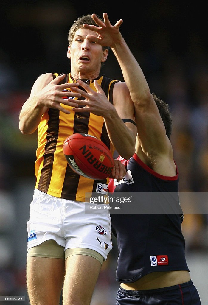 Luke Breust of the Hawks flies for a mark during the round 18 AFL match between the Melbourne Demons and the Hawthorn Hawks at Melbourne Cricket Ground on July 24, 2011 in Melbourne, Australia.