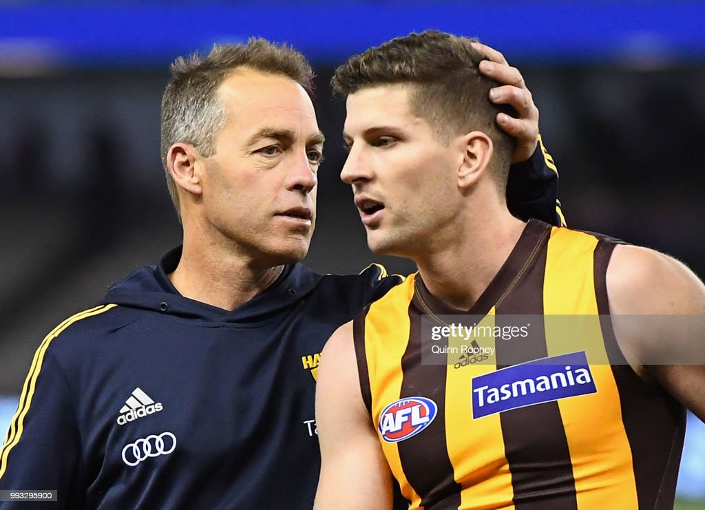 Luke Breust of the Hawks is congratulated by Hawks head coach Alastair Clarkson after kicking 6 goals during the round 16 AFL match between the Western Bulldogs and the Hawthorn Hawks at Etihad Stadium on July 7, 2018 in Melbourne, Australia.