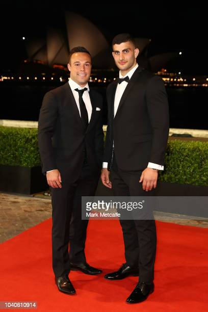 Luke Brooks and Alex Twal arrive at the 2018 Dally M Awards at Overseas Passenger Terminal on September 26 2018 in Sydney Australia