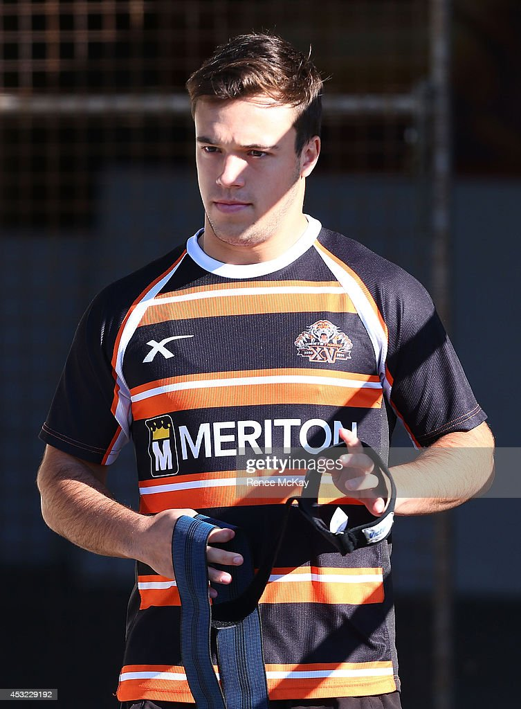 Luke Brooks arrives at a Wests Tigers NRL training session at Concord Oval on August 6, 2014 in Sydney, Australia.
