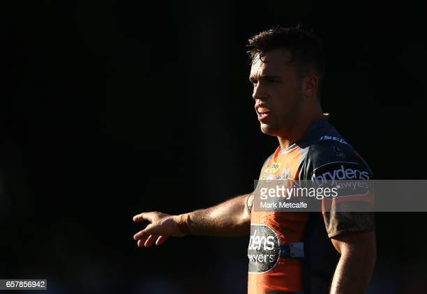 Luke Brooks of the Tigers looks on during the round four NRL match between the Wests Tigers and the Melbourne Storm at Leichhardt Oval on March 26...