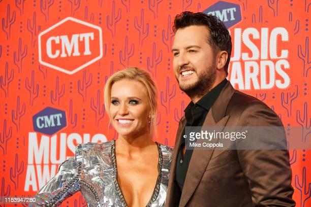 Luke Bryan and Caroline Boyer attend the 2019 CMT Music Award at Bridgestone Arena on June 05, 2019 in Nashville, Tennessee.