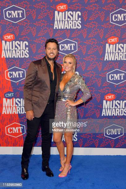 Luke Bryan and Caroline Boyer attend the 2019 CMT Music Awards at Bridgestone Arena on June 05 2019 in Nashville Tennessee