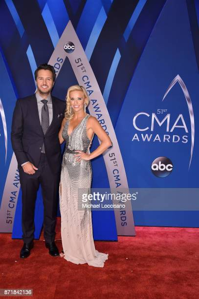 Luke Bryan and Caroline Boyer attend the 51st annual CMA Awards at the Bridgestone Arena on November 8 2017 in Nashville Tennessee