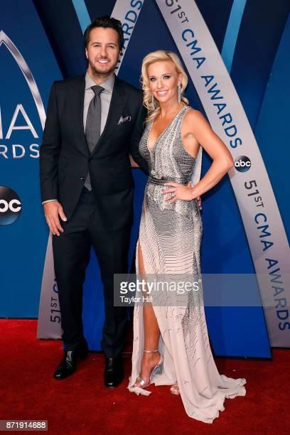 Luke Bryan and Caroline Boyer attend the 51st annual CMA Awards at the Bridgestone Arena on November 8 2017 in Nashville Tennessee
