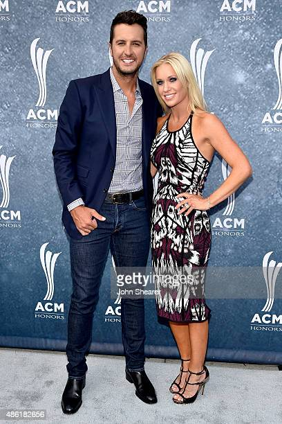 Luke Bryan and Caroline Boyer attend the 9th Annual ACM Honors at the Ryman Auditorium on September 1 2015 in Nashville Tennessee