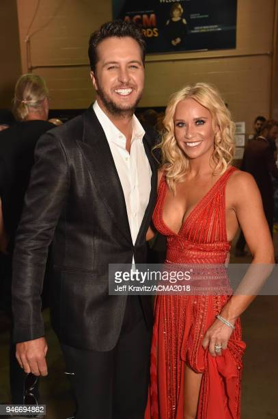 Luke Bryan and Caroline Bryan attend the 53rd Academy of Country Music Awards at MGM Grand Garden Arena on April 15 2018 in Las Vegas Nevada