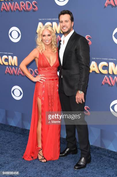 Luke Bryan and Caroline Bryan attend the 53rd Academy of Country Music Awards at the MGM Grand Garden Arena on April 15 2018 in Las Vegas Nevada