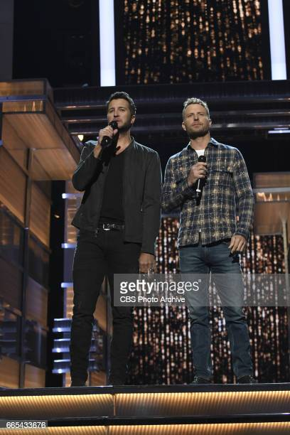 Luke Bryan and Dierks Bentley are seen during rehearsal for THE 52ND ACADEMY OF COUNTRY MUSIC AWARDS scheduled to air LIVE from TMobile Arena in Las...